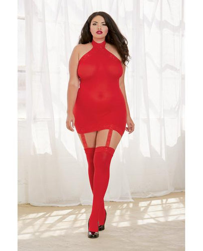 Sheer Dress W-lace Trim, Attached Garters & Thigh High Stockings (thong Not Included) Red Qn - Omega Pleasure