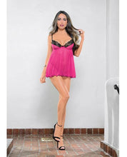 Babydoll W-lace Trim, Underwire, Adjustable Straps & G-string Rasberry-black O-s - Omega Pleasure