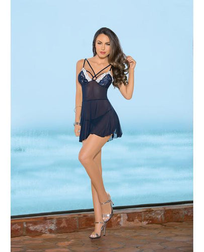 Strappy Front & Back Babydoll Navy-ivory Lg - Omega Pleasure