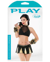 Play Crowd Pleaser Halter Mesh & Micro Top, Pleated Skirt & Pom Poms Black-gold L-x - Omega Pleasure