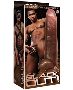 "Icon Male Blackout 12.75"" Realistic Cock & Balls W-suction Cup - Black"
