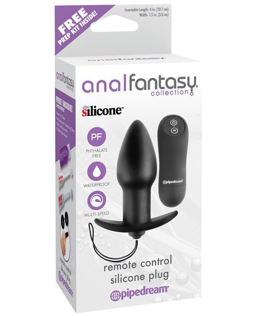 Anal Fantasy Collection Remote Control Silicone Plug - Black - Omega Pleasure