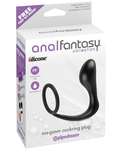 Anal Fantasy Collection Ass Gasm Cockring Plug - Black - Omega Pleasure
