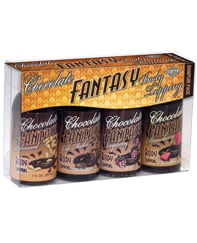 Chocolate Fantasy Lovers Body Topping Sampler - 1 Oz Pack Of 4 - Omega Pleasure