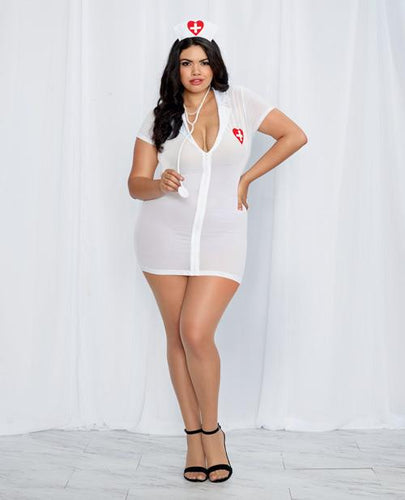 3 Pc Stretch Mesh Chemise W-front Zipper, Hat, & Stethoscope White-red Qn - Omega Pleasure
