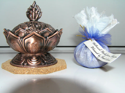 Lotus Incense Burner with Odiyan Herbs - Dharma Publishing