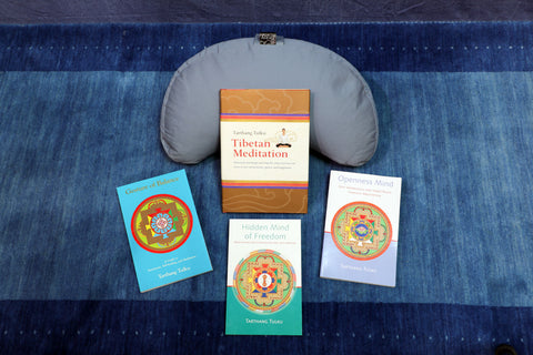 Half Moon Meditation Cushion with One of Four Books, Holiday Package