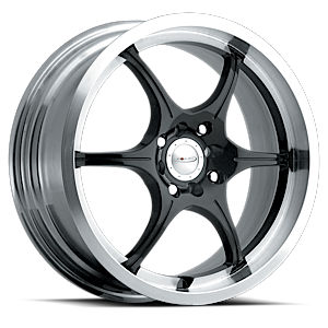 176 F-06  / Gloss Black with Machined    4 Lug
