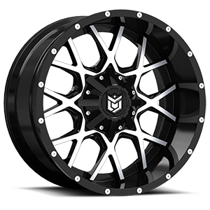 DS645  / Gloss Black with Mirror Machined Face   5 Lug