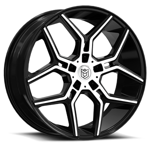DS651  / Gloss Black with Mirror Machined Spoke Tips   5 Lug