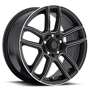 425 F03  / Satin Black with Diamond Cut Accents   5 Lug