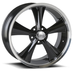 MMR12 Modern Muscle Booster  / Gloss Black Paint Center / Machined Outer   5 Lug