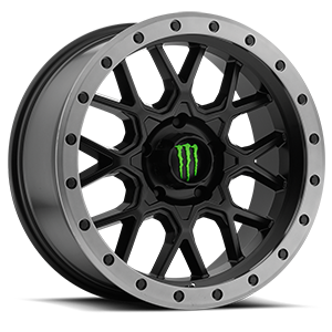 649  / Satin Black with Anthracite Grey Beadlock-Style Lip and Green Monster M-Claw Cap   5 Lug