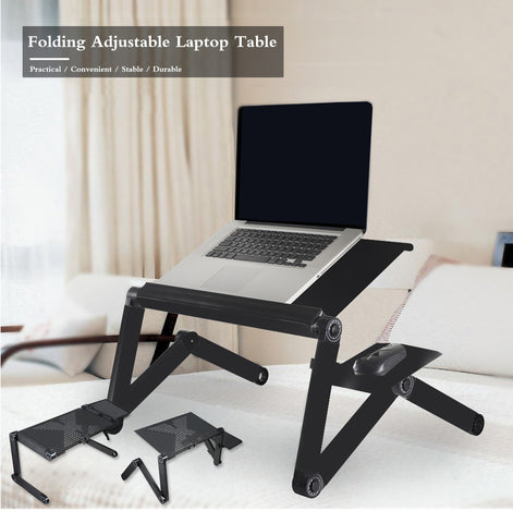 Folding Adjustable Laptop Notebook Desk Table Stand Bed Tray