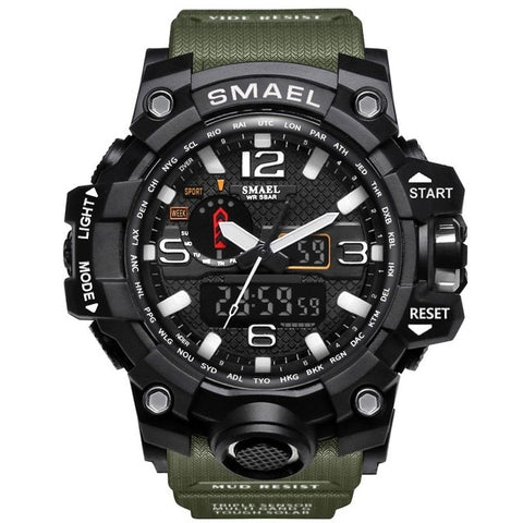 Men Sports Watches Dual Display Analog Digital LED