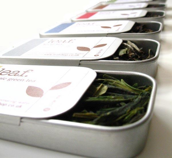 6 mini tea tins