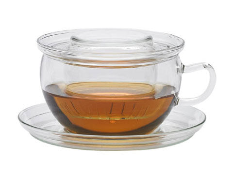 Glass cup & saucer with strainer and lid