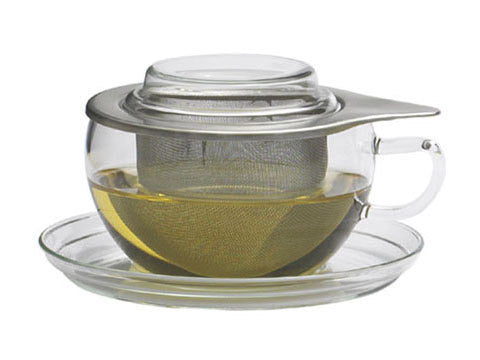 Glass cup & saucer with stainless steel strainer and lid