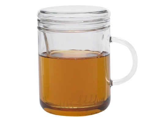 Zyclo glass mug with glass infuser and lid