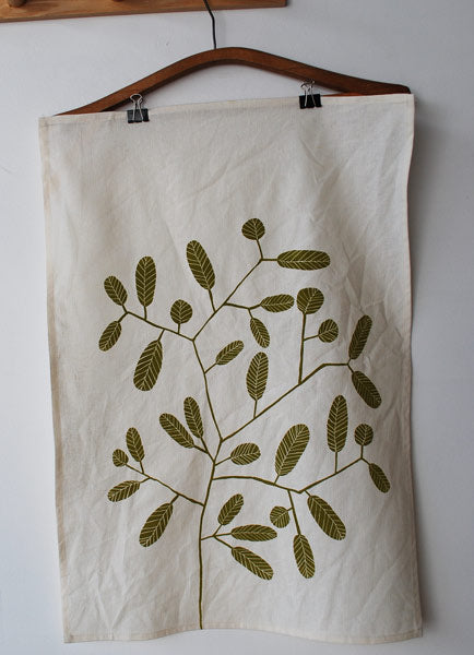 Green Smokebush tea towel