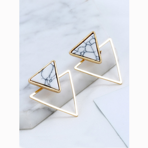 Triangle Marble Gold Stud Statement Earrings