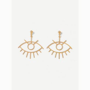 Hollow Eye Shaped Gold Statement Drop Earrings
