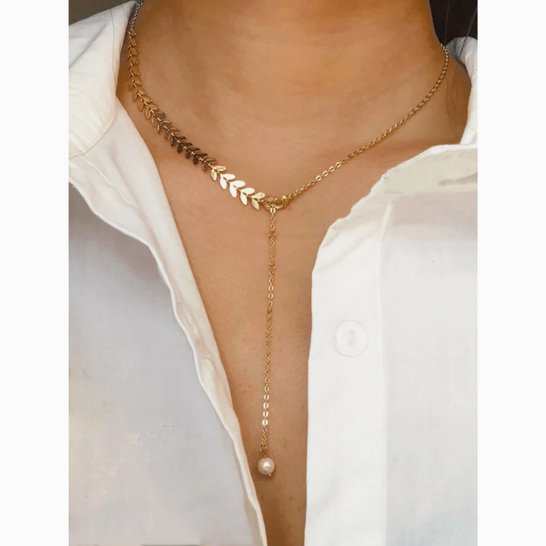 Dainty Gold Leaf Pearl Delicate Lariat Necklace