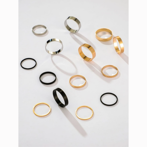 Midi & Knuckle Black Gold Silver Solid 14 Ring Set
