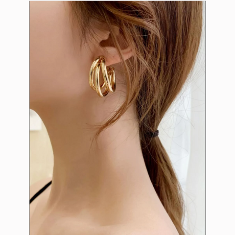 Gold 3 Layered Hoop Statement Earrings