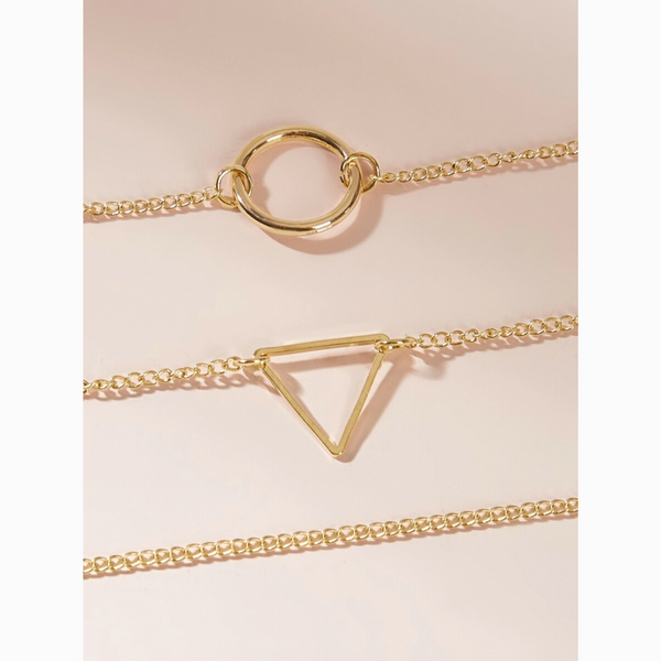 Choker Dainty Gold Geometric Delicate Necklace Set