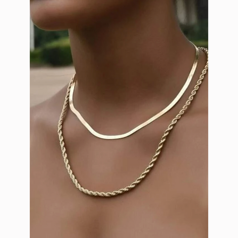 Gold Twist Layered Chain Statement Necklace