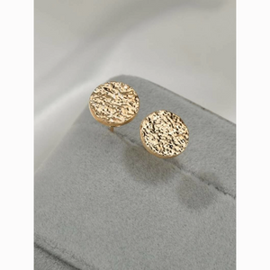 Gold Rough Textured Circle Stud Earrings