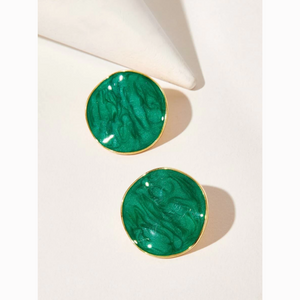 Vintage Emerald Round Statement Stud Earrings