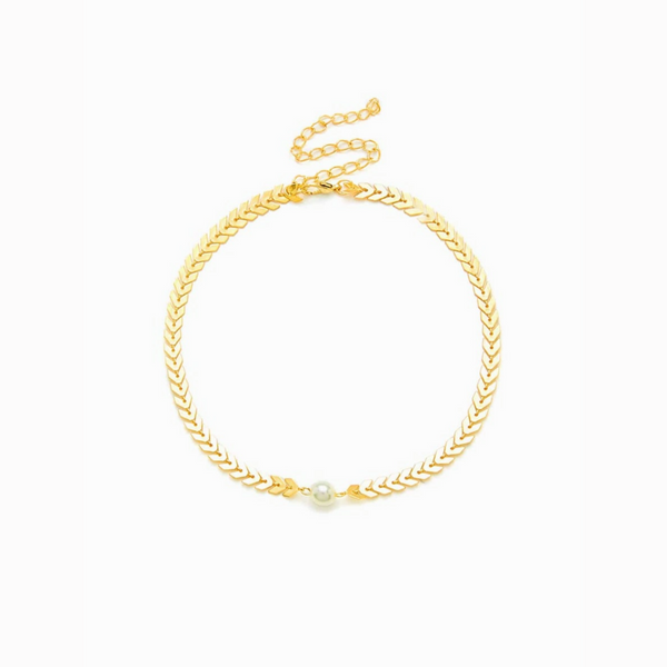 Pearl Arrow Gold Statement Choker Necklace