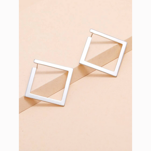 Silver Geometric Hollow Square Stud Earrings