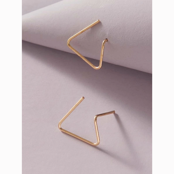 Gold Minimalist Geometric Triangle Stud Earrings