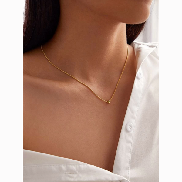 Minimalist Delicate Dainty Gold Bead Necklace
