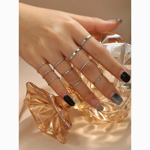 Silver Dainty Simple Midi Knuckle 10 Ring Set