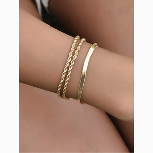 Delicate Twisted Smooth Chain 3 Bracelet Set