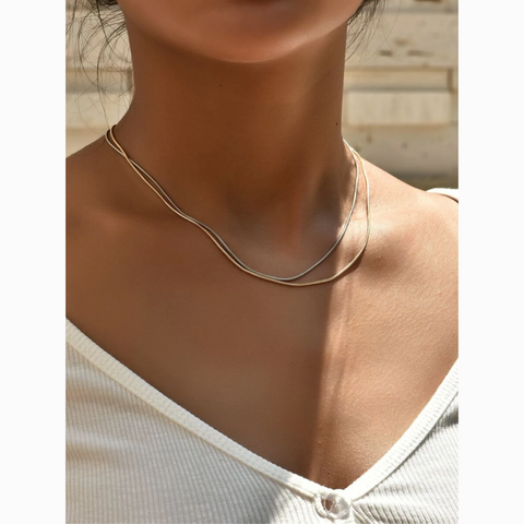 Dainty Gold Silver Solid Layered 2 Necklace Set