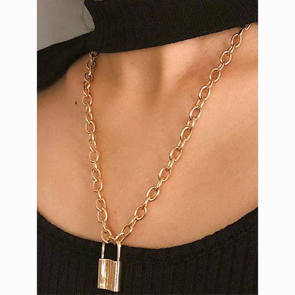 Gold Lock Pendant Chain Statement Necklace