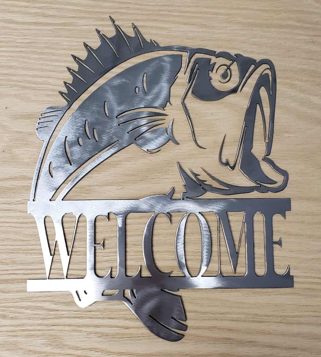 Bass Fish Welcome Sign Metal Art - Indoor or Outdoor