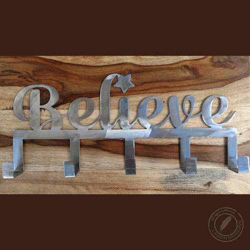 Believe Stocking Holder Metal Wall Art Indoor or Outdoor - 16 Gauge Thick Metal - Powder Coated Sign