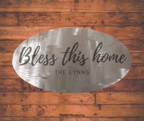 Bless This Home - Saying on Metal Art - Oval