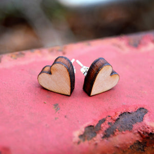 Wooden Heart Earrings, Valentines Day Gift For Her