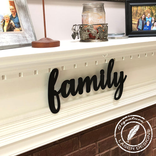 Family Sign Indoor or Outdoor - 16 Gauge Thick Metal - Powder Coated Sign