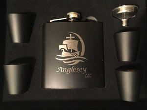 Engraved 6 Ounce Flask Set