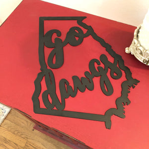 Go Dawgs Metal 18 Gauge Metal Sign 12 x 14