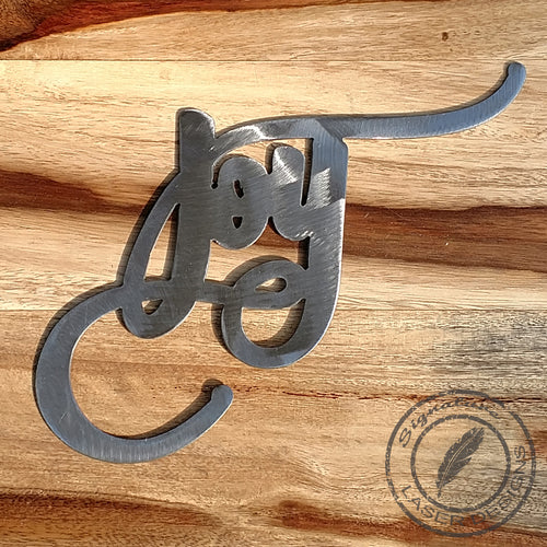 Joy Script Metal Wall Art Indoor or Outdoor - 16 Gauge Thick Metal - Powder Coated Sign