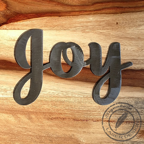 Joy Basic Metal Wall Art Indoor or Outdoor - 16 Gauge Thick Metal - Powder Coated Sign